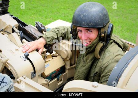 U. S. Army 1st Lt. Mark Bible, M1 vehicle commander, Charlie Company, 1-118th Combined Arms Battalion, South Carolina - Stock Photo