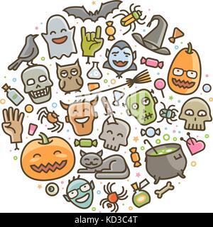 Halloween, set of icons. Holiday symbol. Cartoon vector illustration - Stock Photo