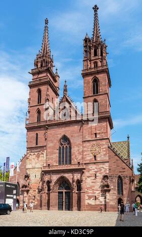 Basel Minster (Basler Münster), Münsterplatz, Basel (Basle), Switzerland - Stock Photo