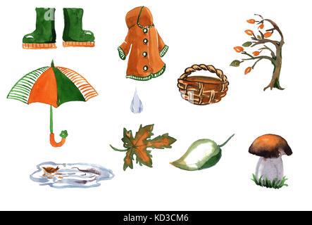 Set of hand drawn watercolor autumn accessories coat, umbrella, leaves - Stock Photo