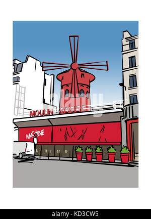 Illustration of the Moulin Rouge in Paris, France - Stock Photo