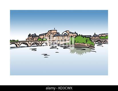 Illustration of Ile Saint-Louis, Paris, France - Stock Photo