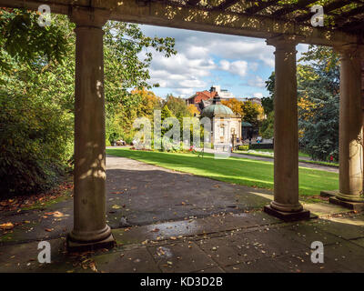 Royal Pump Room Museum from the Sun terrace in Valley Gardens Harrogate North Yorkshire England - Stock Photo