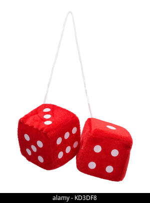 Red Fuzzy Hanging Dice Isolated on White Background. - Stock Photo