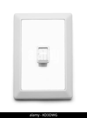Wall Light Switch Off Isolated On White Background. - Stock Photo