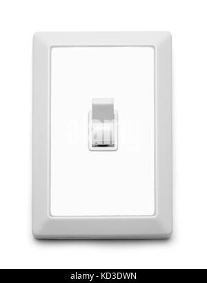 Wall Light Switch On Isolated On White Background. - Stock Photo
