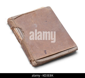 Closed Old Worn Out Book Isolated on a White Background. - Stock Photo