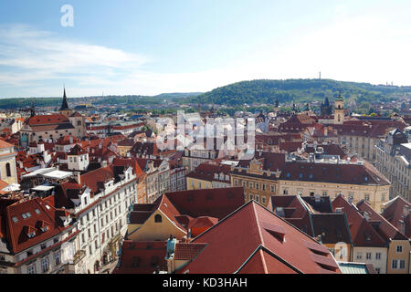 View from the Old Town Hall Tower on the historic centre, Prague, Czech Republic - Stock Photo