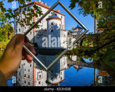 Framed castle Sneznik Slovenia autumn season - Stock Photo