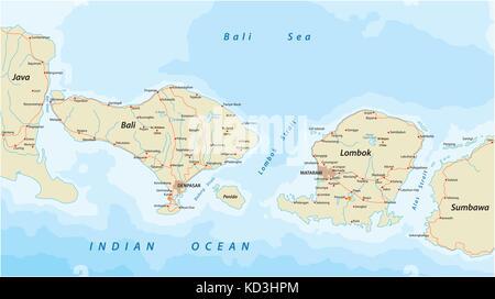 Vector road map of Indonesian Lesser Sunda Islands Bali and Lombok - Stock Photo