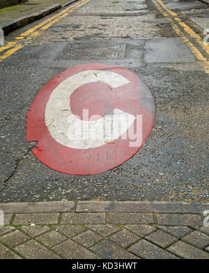 A Congestion Charge sign on a small quiet road. - Stock Photo