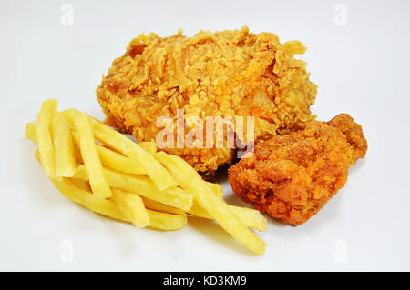 fried chicken and French fries fast food on white background - Stock Photo