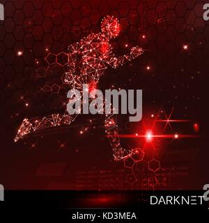 Hacker activity banner. Technological space with an evader. Red, warning background - Stock Photo