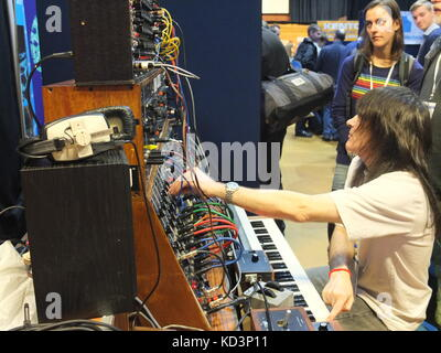 Performer at at Synthfest UK demonstrating Moog modular synthesizer, The Octagon Centre, University of Sheffield - Stock Photo