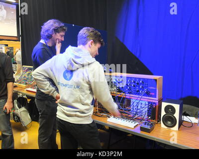 Modular analogue synthesizers on display at Synthfest UK, The Octagon Centre, University of Sheffield (part of Sensoria - Stock Photo