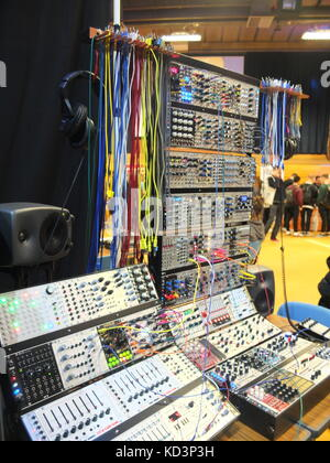 Modular synthesizers on display at Synthfest UK, The Octagon Centre, University of Sheffield (part of Sensoria Festival) - Stock Photo
