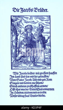Pilgrims to Santiago de Compostela (Brothers of Jacob / die Jacobsbruder), from the Book of Trades / Das Standebuch - Stock Photo