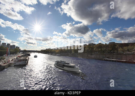 Boat on Seine in Paris, France - Stock Photo