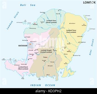 Lombok administrative and political map, Indonesia - Stock Photo