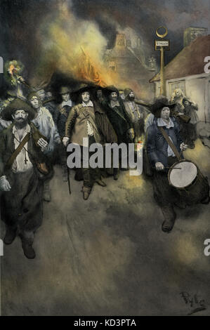 Burning of Jamestown, Bacon Rebellion, 19 September 1676. Uprising led by Nathaniel Bacon, Virginia colonist, North - Stock Photo