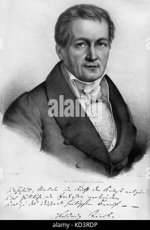 Ludwig Tieck -portrait. with signature. German writer on Shakespeare. 31 st May 1773 - 28 april, 1853.  Wrote under - Stock Photo