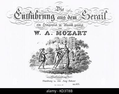 Title page from Mozart's 'Die Entführung aus dem Serail' (K384) ein Singspiel in Musik gesetzt. Klavuerauszug. Published - Stock Photo