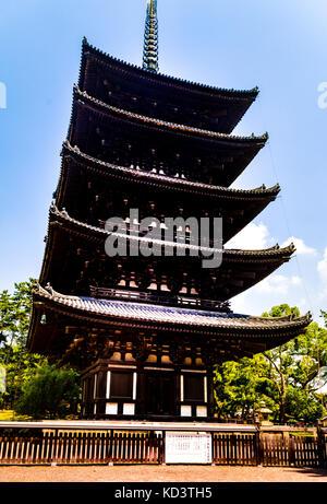 Five Story Pagoda in Nara, Kyoto, Japan - Stock Photo