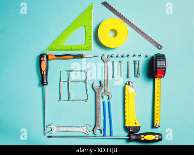 Home improvement concept. Set work hand tool for construction or repair of house - Stock Photo