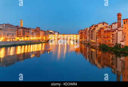 Arno and Ponte Vecchio at night, Florence, Italy - Stock Photo