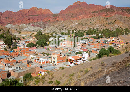 Aerial view over Tupiza, capital city of the Sud Chichas Province within the Potosí Department, Bolivia - Stock Photo