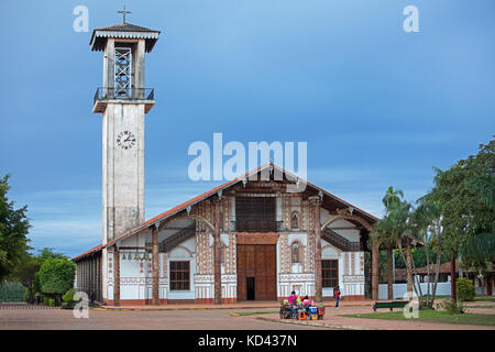 Jesuit mission church at San Ignacio de Velasco, José Miguel de Velasco Province, Santa Cruz Department, Bolivia - Stock Photo