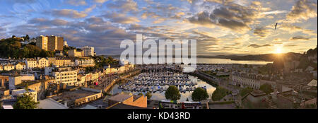 GB - DEVON: Panoramic view of Torquay Harbour and Town - Stock Photo