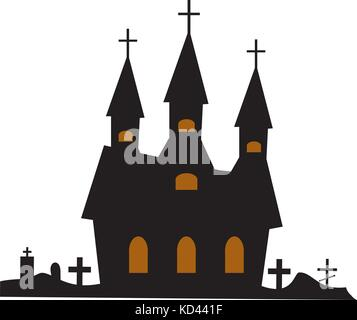 Castle building icon flat style. Isolated on white background. Vector illustration. - Stock Photo