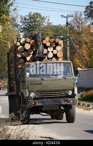 big lift truck full of wooden logs timber on road. concept of illegal felling of trees - Stock Photo