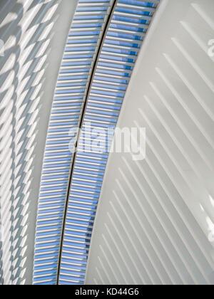 Interior view of the Oculus, Westfield World Trade Center. Tranportation hub designed by Santiago Calatrava. Manhattan - Stock Photo