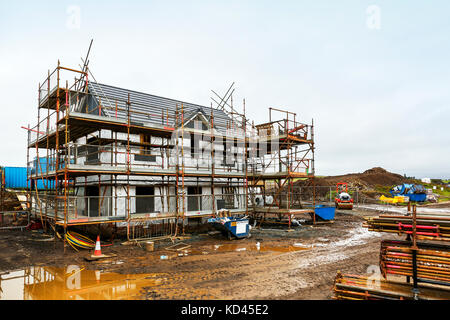 Detached villa new build house under construction, Building site, Troon, Ayrshire, Scotland,UK - Stock Photo