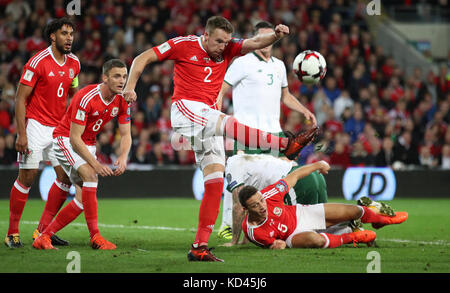 Wales' Chris Gunter clears during the 2018 FIFA World Cup Qualifying Group D match at the Cardiff City Stadium, - Stock Photo