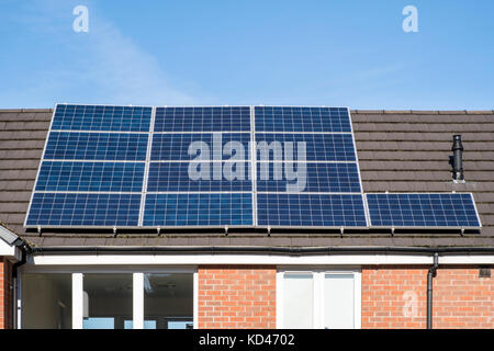 Solar panels on the roof of a house, Nottinghamshire, England, UK - Stock Photo