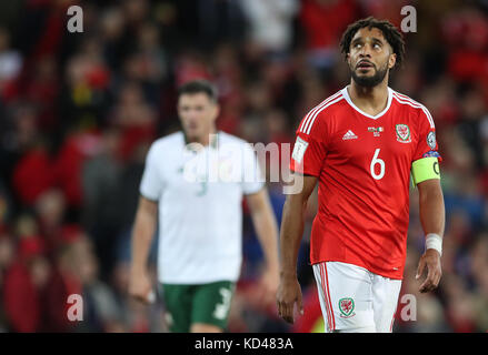 Wales' Ashley Williams looks dejected during the 2018 FIFA World Cup Qualifying Group D match at the Cardiff City - Stock Photo