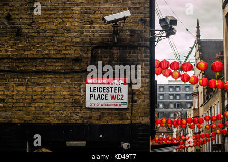 Leicester Place sign in Leicester Square, City of Westminster, London, UK - Stock Photo