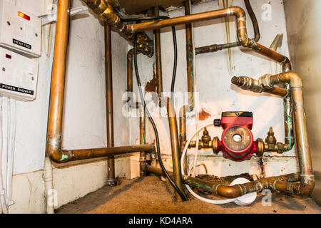 Copper Pipework Of A Central Heating System Stock Photo: 160909760 ...