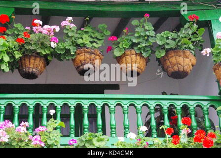 Balcony with hanging Baskets, Colombia - Stock Photo