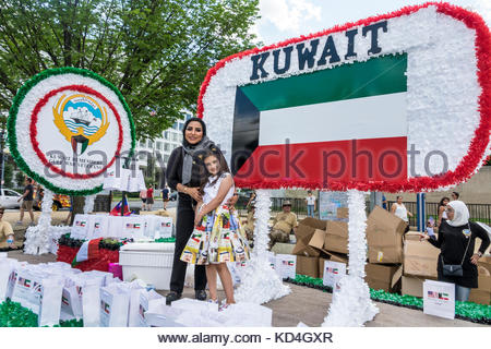 Washington DC District of Columbia National Memorial Day Parade staging area float Kuwait Gulf War Veterans Asian - Stock Photo