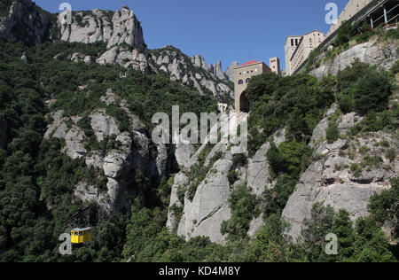 Cable car to the Basilica of Montserrat.The Church at Montserrat Monastery near Barcelona Catalunia Spain - Stock Photo