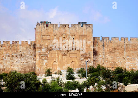 The Golden Gate or Gate of Mercy on the east-side of the Temple Mount of the Old City of Jerusalem, Israel - Stock Photo