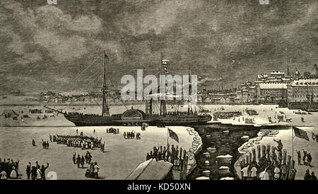 The Ice Bound Britannia at Boston, circa 1890 - Stock Photo