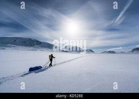 Ski touring in the Kebnekaise massive mountain range, Kiiruna, Sweden, Europe - Stock Photo