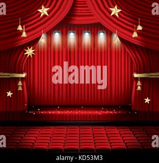 Red Stage Curtain with Seats and Spotlights. Vector illustration. Theater, Opera or Cinema Scene. Light on a Floor. - Stock Photo
