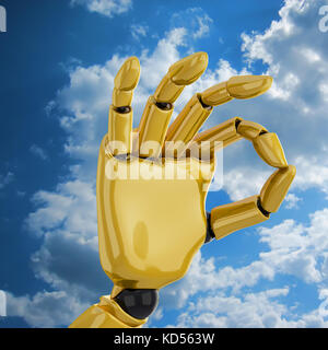Gold robotic hand giving the 'okay' sign - Stock Photo