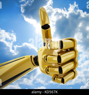 Gold 3d robotic hand with thumb up - Stock Photo